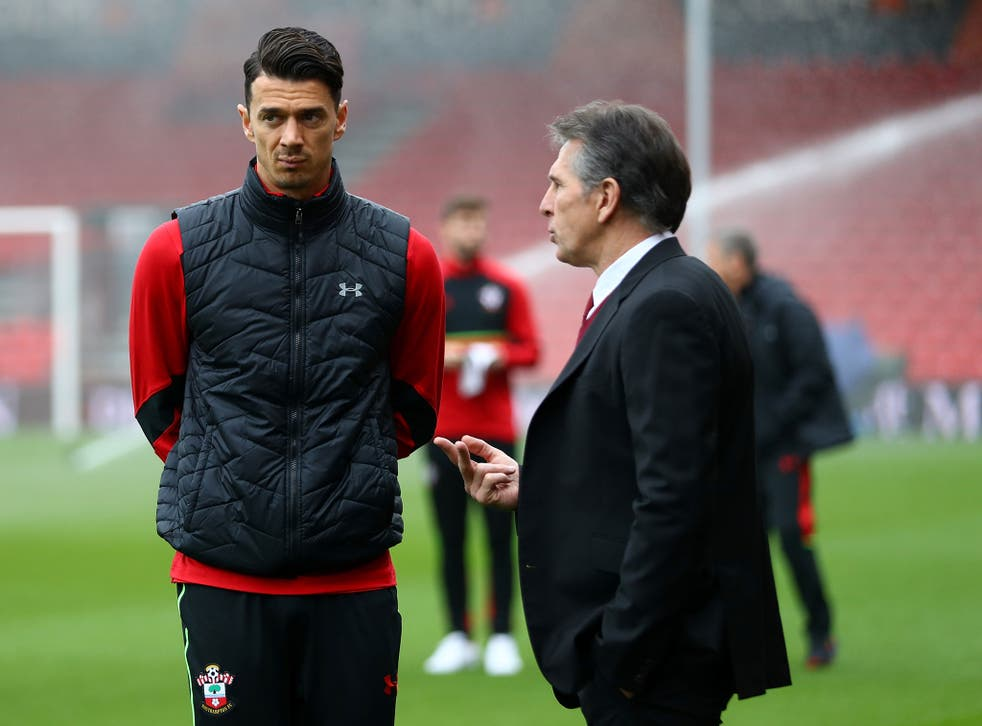 Claude Puel (right) will not select Jose Fonte (left) while his Southampton future is in doubt