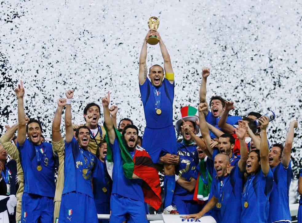 Italy captain Fabio Cannavaro lifts the World Cup in 2006