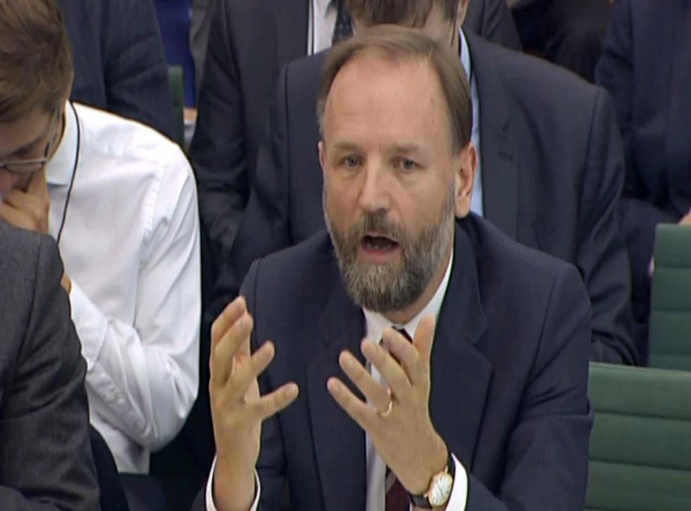 NHS England chief executive Simon Stevens giving evidence to MPs
