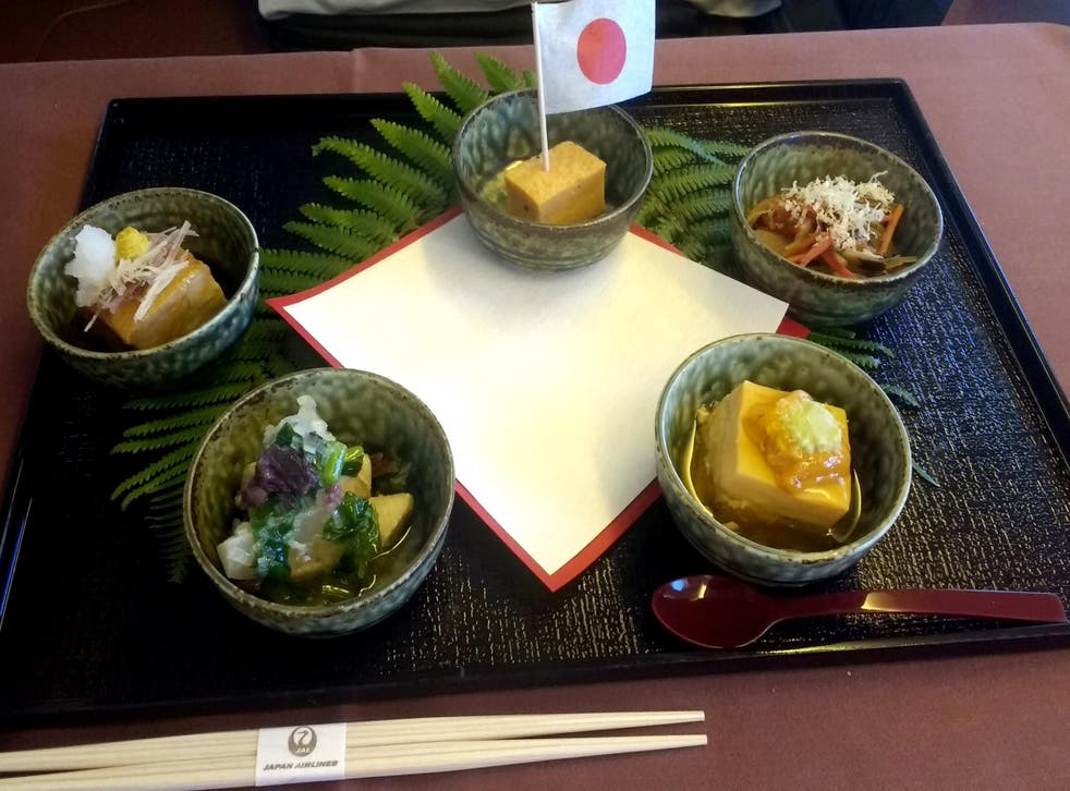 One course of Japan Airlines' kaiseki meal on its Tokyo-Jakarta route