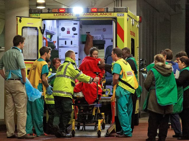 Casualties arriving at UCL Hospital in London. A&E departments are under growing strain during the winter months