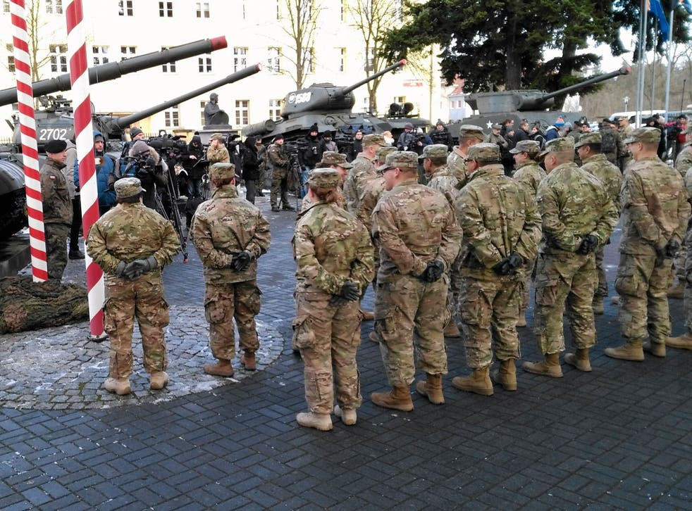US soldiers arrive to Zagan, Poland as part of a Nato deployment