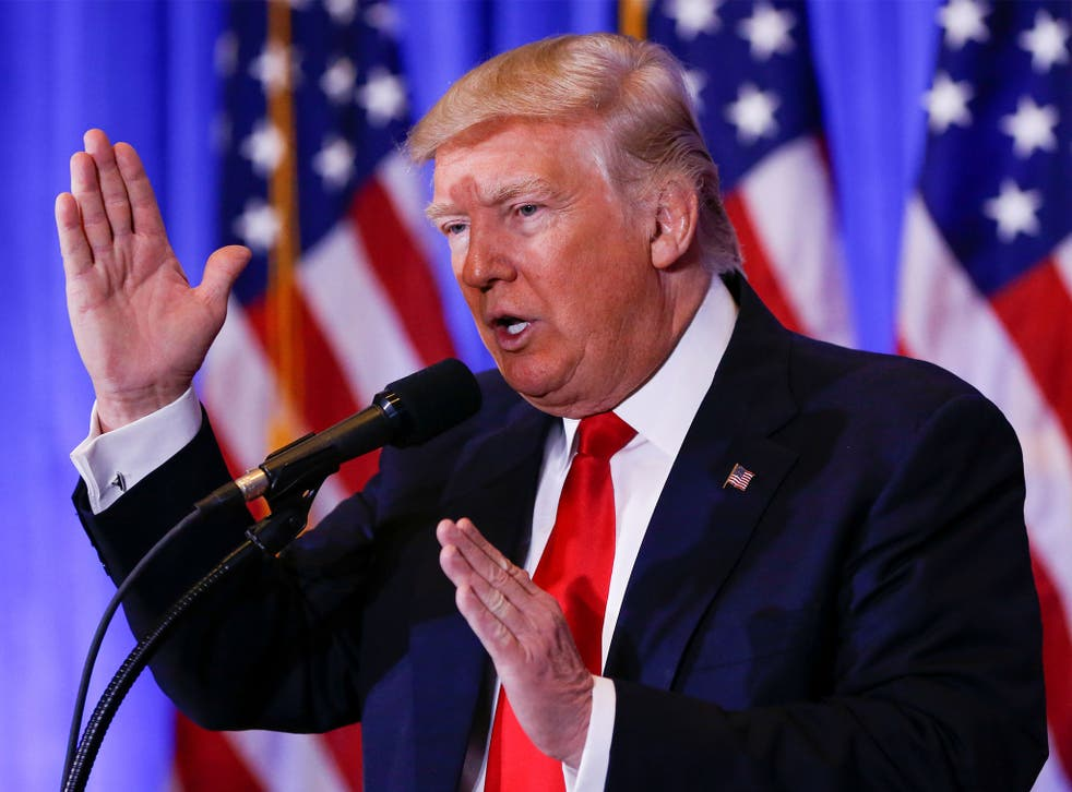 US President-elect Donald Trump speaks during a press conference in Trump Tower
