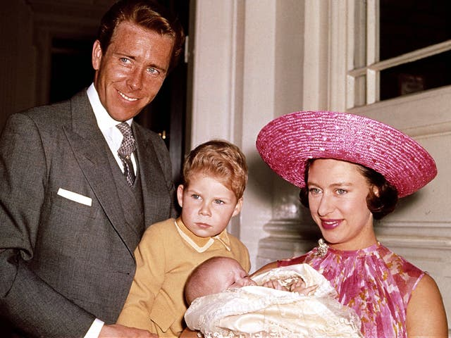Snowdon with Princess Margaret, thei son Viscount Linley and their new daughter Lady Sarah Armstrong-Jones in 1964