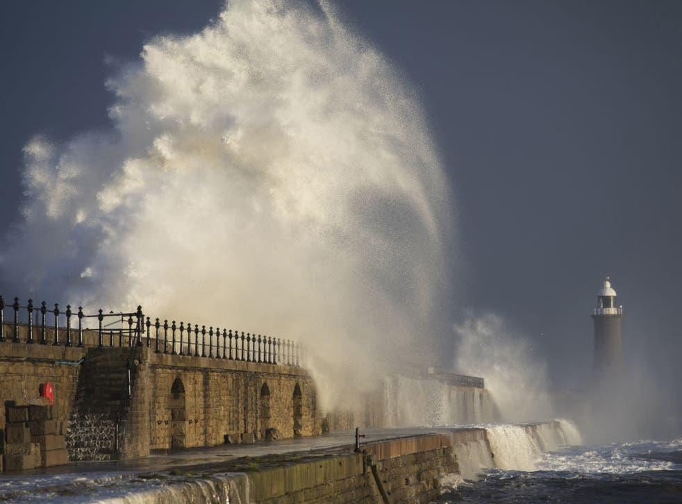 Strong winds sent high waves crashing over Tynemouth Pier in Tyneside on Friday