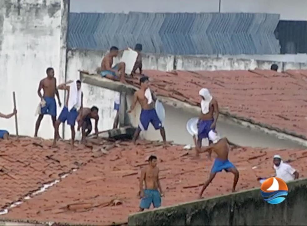 Television footage showed inmates on the roof of the prison