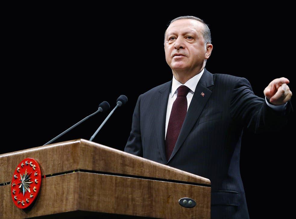 Turkey's President Tayyip Erdogan speaks during a meeting at the Presidential Palace in Ankara, Turkey