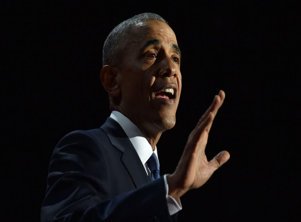 US President Barack Obama speaks during his farewell address in Chicago, Illinois on January 10, 2017. Barack Obama closes the book on his presidency, with a farewell speech in Chicago that will try to lift supporters shaken by Donald Trump's shock election.