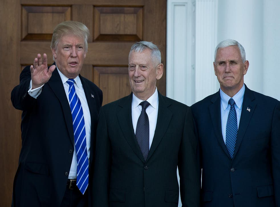 Donald Trump with Vice President-elect Mike Pence and his Defence Secretary, James Mattis