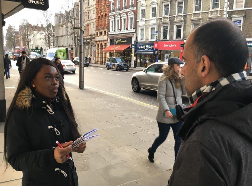 Kumba Kpakima reporting on the streets of London