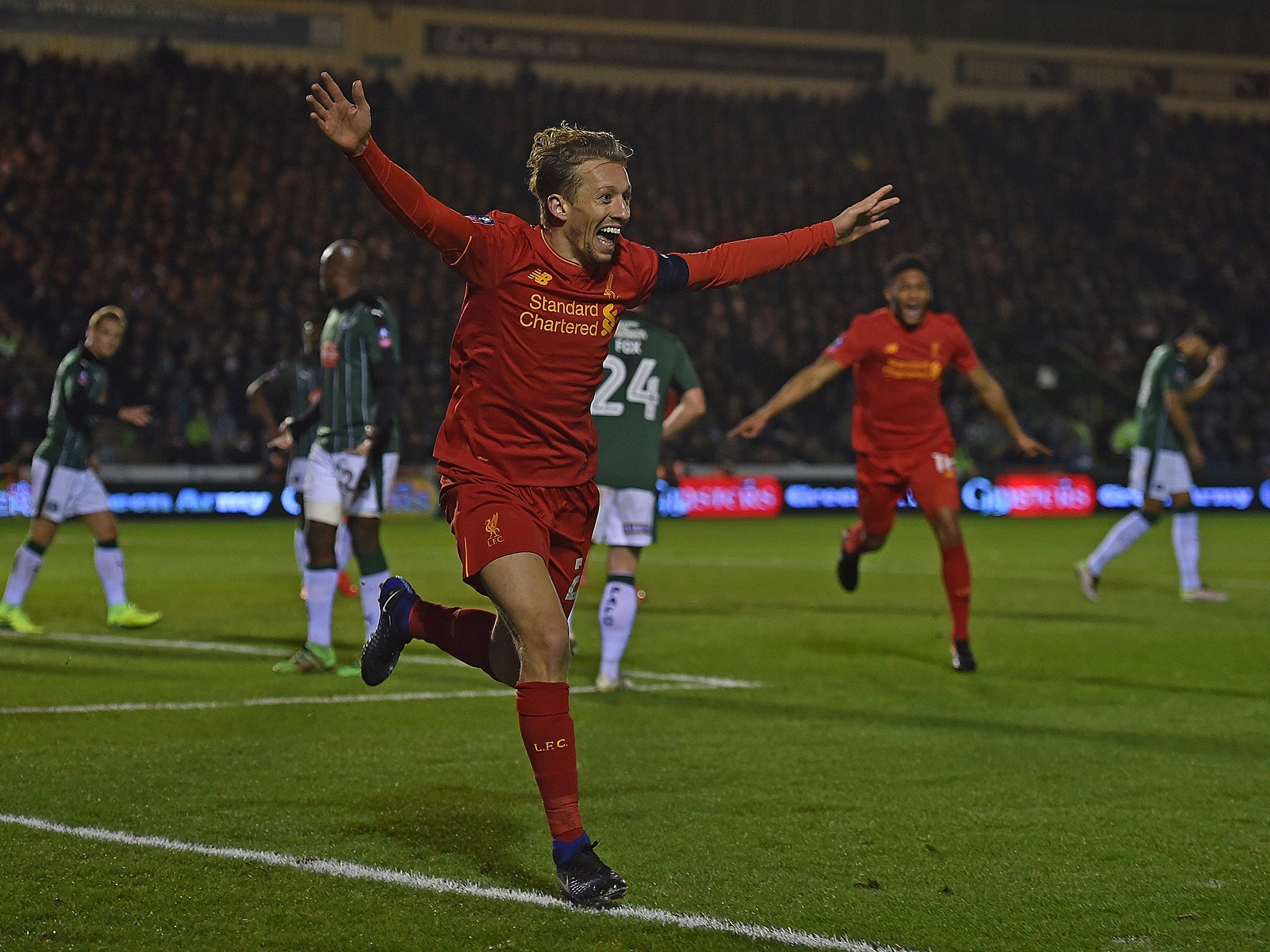 Lucas Leiva's first goal in seven years proves enough for Liverpool to scrape past Plymouth
