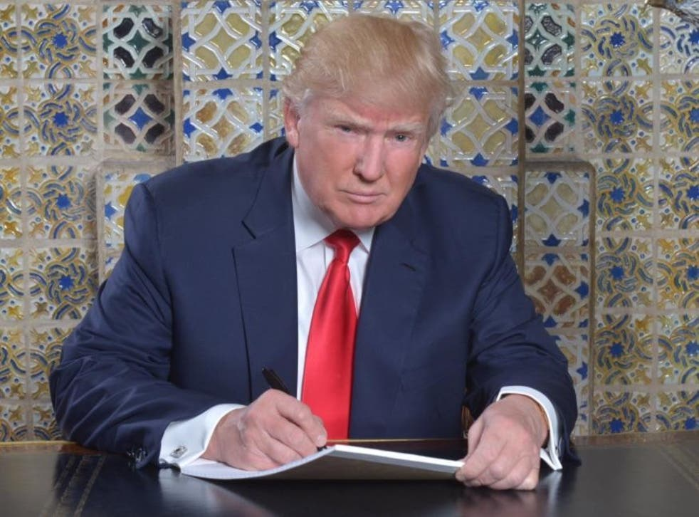 The incoming President pictured writing his speech for Friday's inauguration