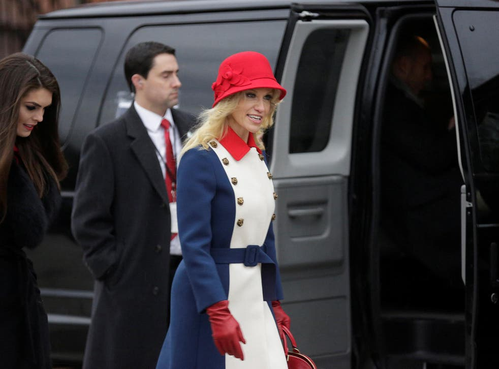 Kellyanne Conway, advisor to U.S. President-elect Donald Trump, departs for a church service before the 58th Presidential Inauguration in Washington, U.S., January 20, 2017.