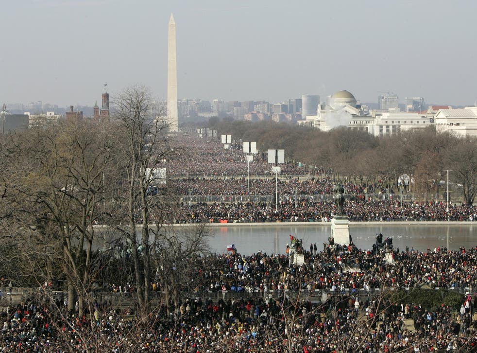 The National Park Service retweet a tweet comparing the crowds that turned out for Mr Obama's inauguration (above) with the numbers gathered for Mr Trump's swearing in on Friday