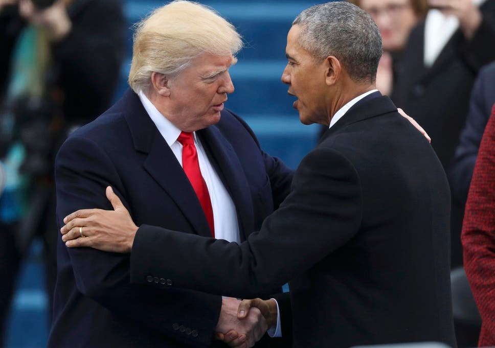 Donald trump bad lip reading reveals what obama really said to us president elect donald trump greets outgoing president barack obama before trump is inaugurated during m4hsunfo