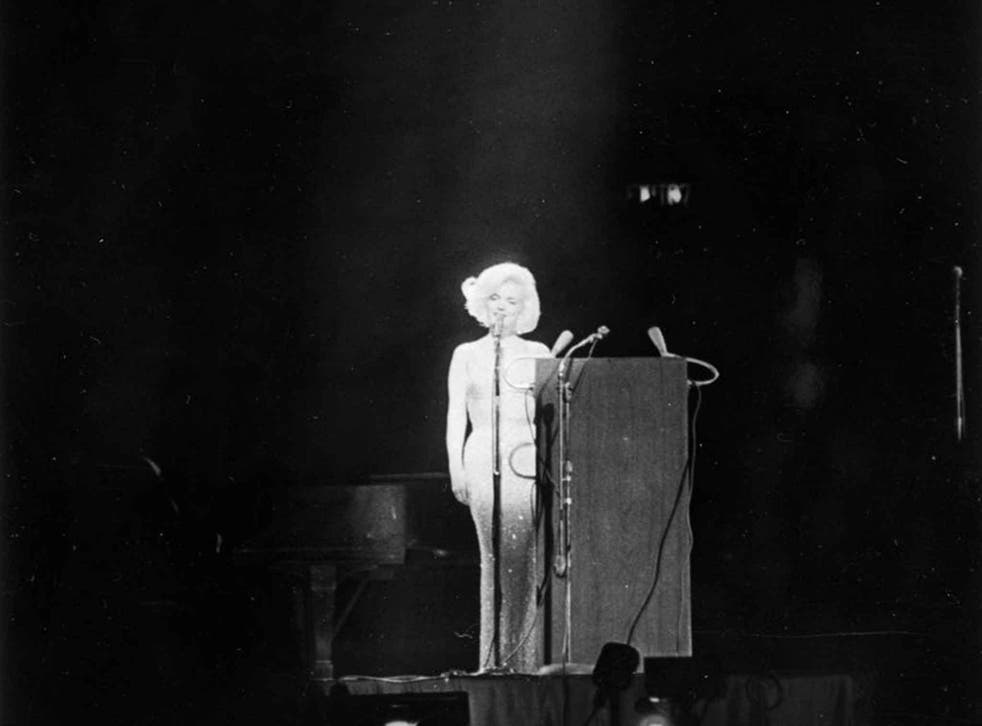 Monroe and the famous dress at the birthday salute to President Kennedy at Madison Square Garden, New York, in May 1962