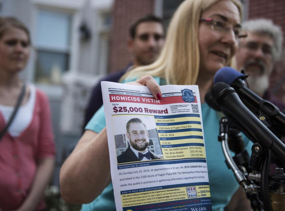 Mary Rich, the mother of slain Democratic National Convention staffer Seth Rich, gives a press conference in Bloomingdale in August 2016 following her son's death in July