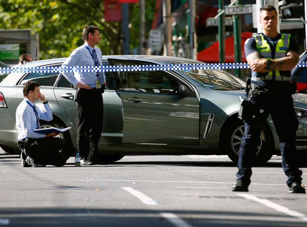 Police cordon off Bourke Street mall, after a car hit pedestrians in central Melbourne