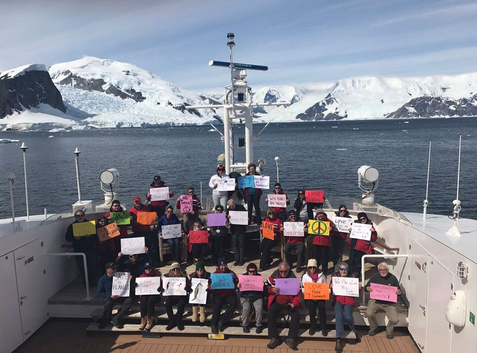 Anti-Trump protesters are even preparing to march on board an expedition ship in the Antarctic
