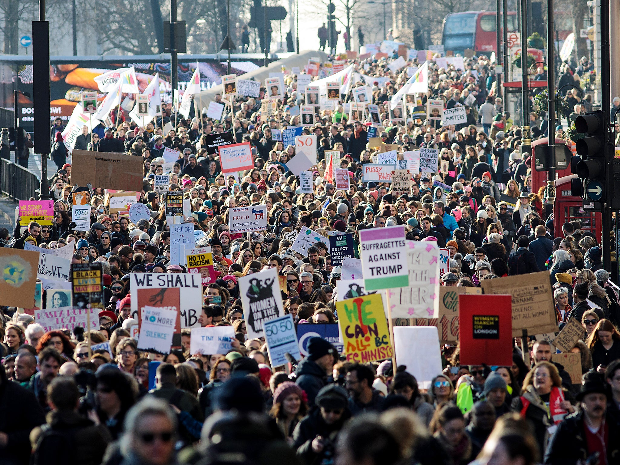 Women's March: 100,000 protest in London against Donald Trump