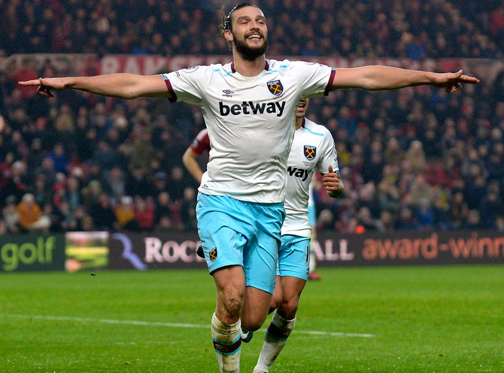 Andy Carroll celebrates as West ham secured a 3-1 victory over Middlesbrough
