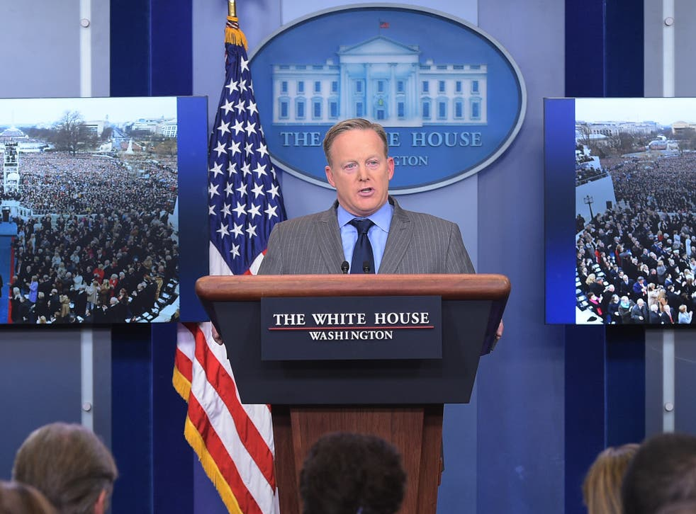 Spicer berated the press in his first White House briefing