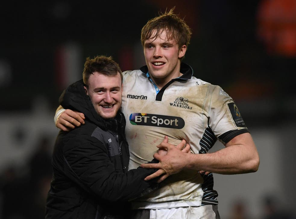 Stuart Hogg celebrates qualification with Jonny Gray after the game