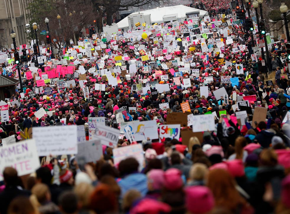 Protesters gather during the Women's March on Washington
