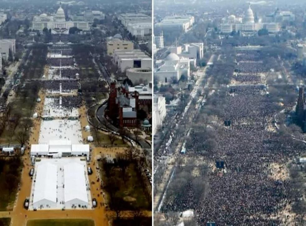 The scene of Donald Trump's inauguration as US President on January 20 2017 (L) and Barack Obama's first swearing in ceremony in 2009