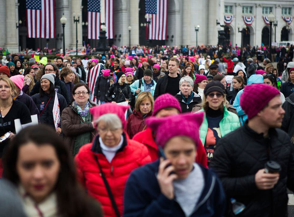 Demonstrators leaving Union Station for the Women's March on Washington on 21 January