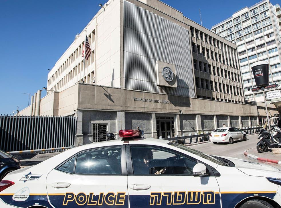 The US Embassy building in the Israeli coastal city of Tel Aviv
