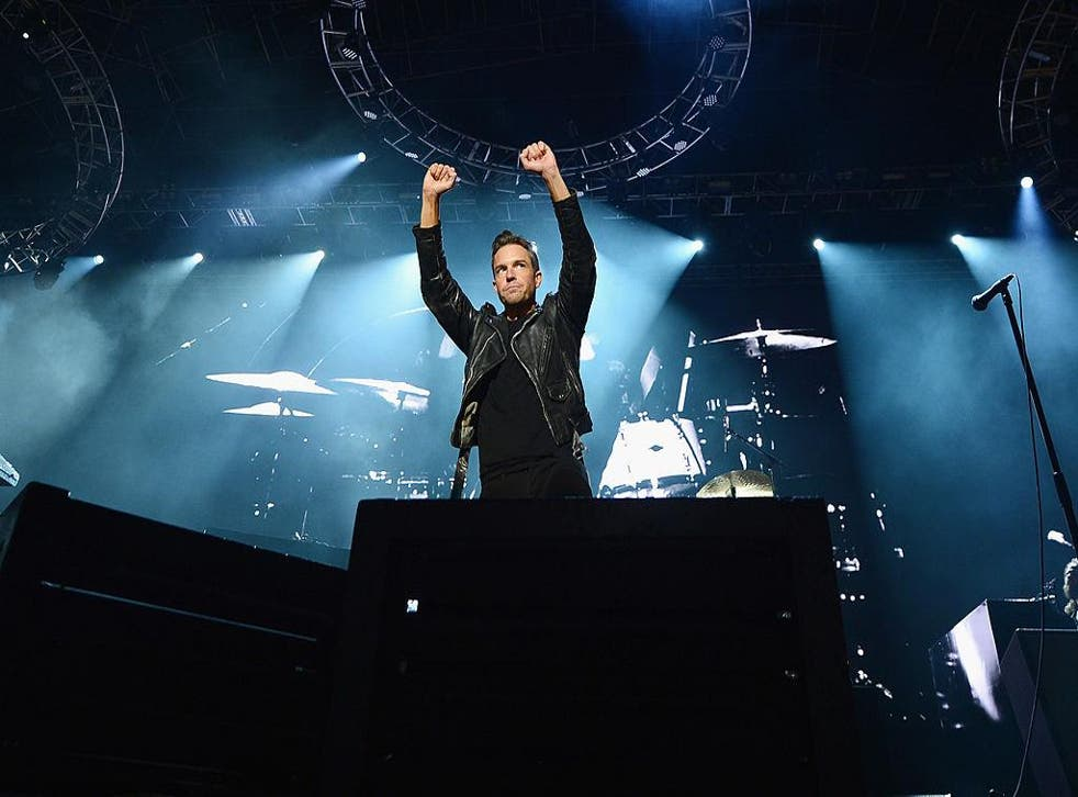 Brandon Flowers of The Killers on stage in 2014