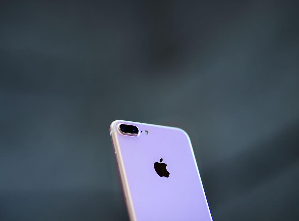 An Iphone 7 Plus with its new dual camera is displayed at Puerta del Sol Apple Store the day the company launches their Iphone 7 and 7 Plus on September 16, 2016 in Madrid, Spain