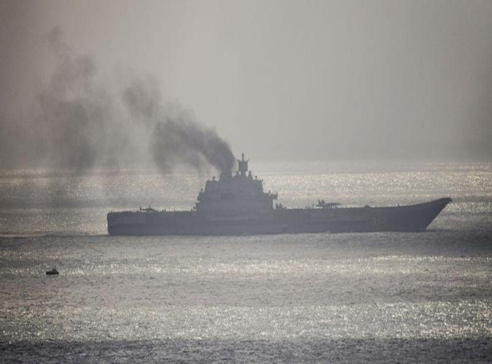 The Admiral Kuznetsov traversing the English Channel en route to the Syrian port of Tartous in November 2016 (Getty Images)