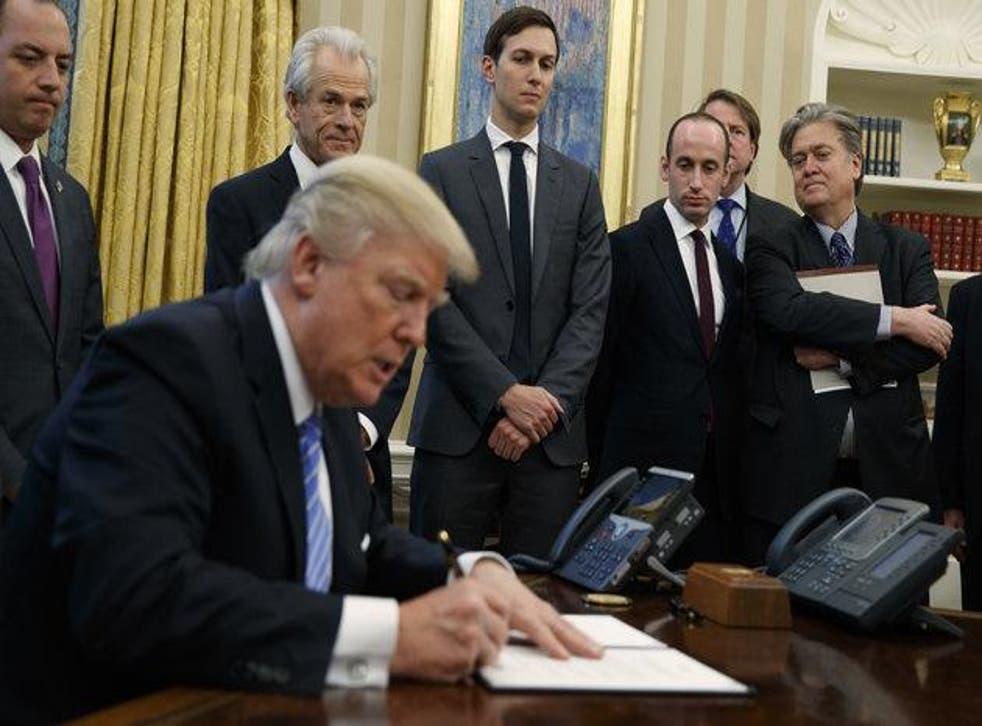 Mr Trump signed three executive orders