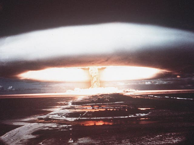 File photo shows a nuclear explosion in Mururoa atoll. A bill has been tabled to restrict the US President's authority over nuclear weapons use