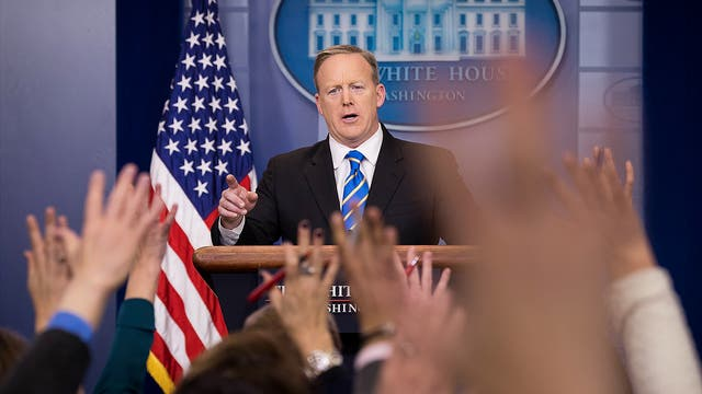 White House Press Secretary Sean Spicer takes questions during the daily press briefing