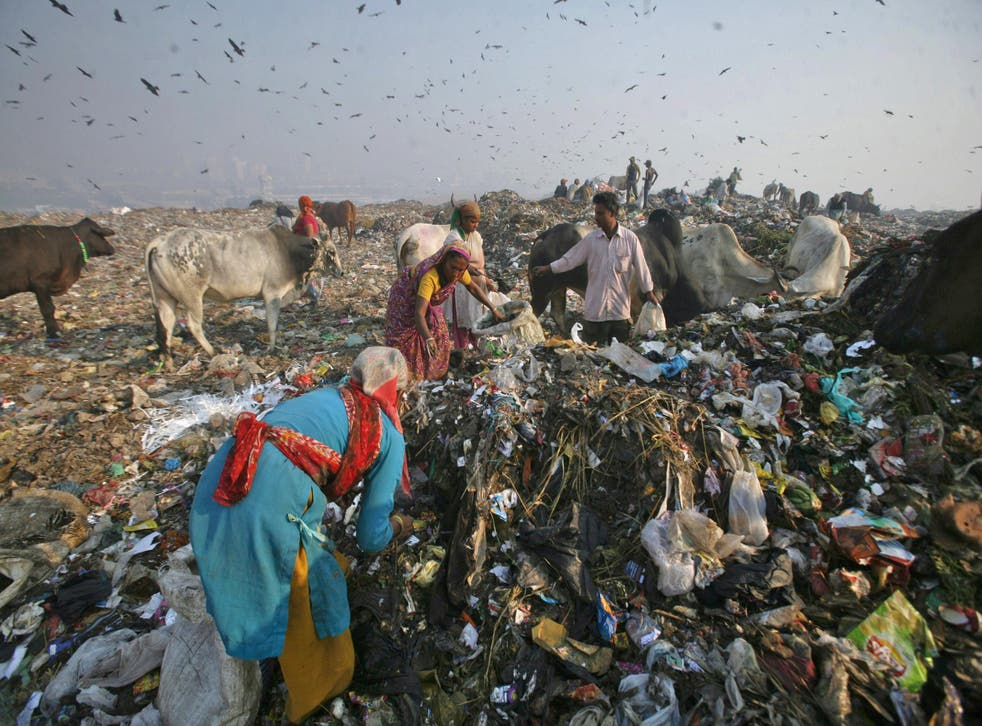 Waste collector Saudagar Mukherjee and his daughter Madhuri collect recyclable material at the Ghazipur landfill in New Delhi
