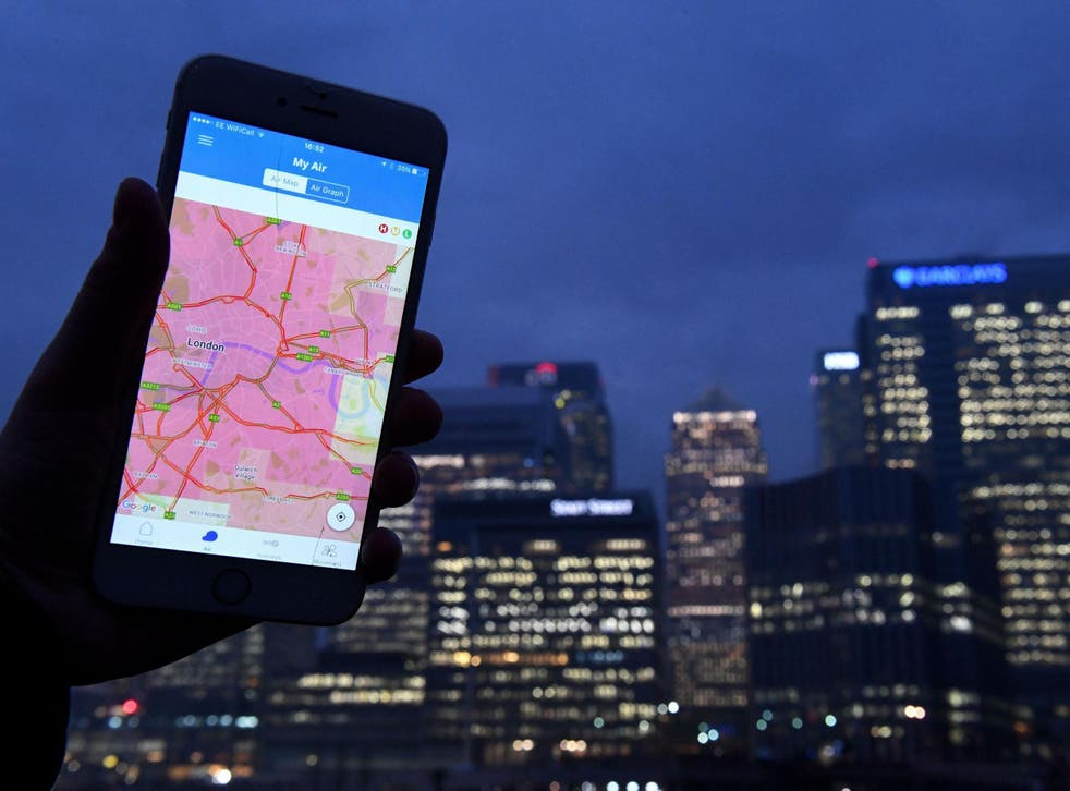 Air quality trackling app CleanSpace shows wide areas of the highest indicator of pollution across London