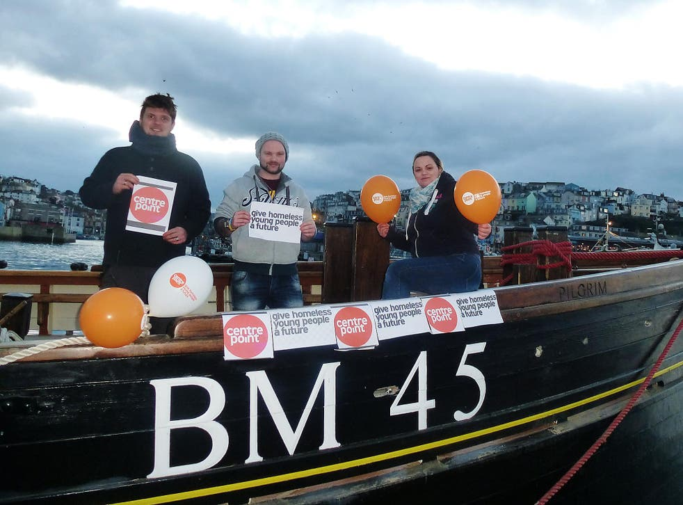 Sam Stewart with husband Brendan (left) and friend Matt Kenyon (centre) will be sleeping out on the deck of Brixham trawler 'Pilgrim' to raise money for the homeless helpline