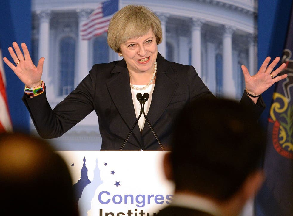 Prime Minister Theresa May addressing the Republican congressmen's retreat in Philadelphia ahead of her meeting with Donald Trump on Friday