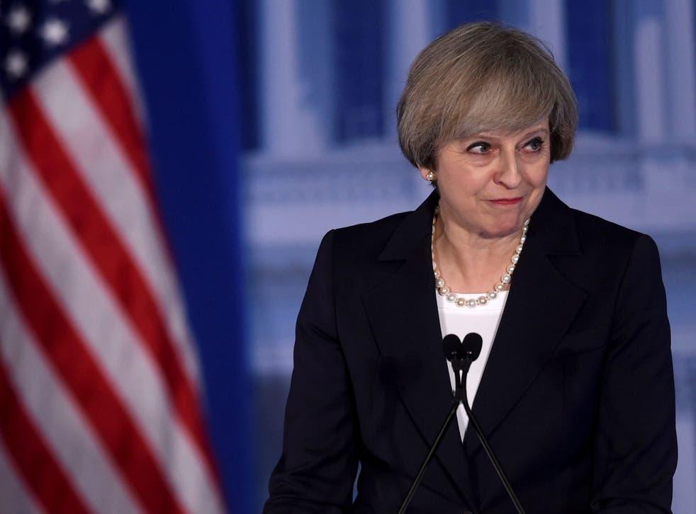 Prime Minister Theresa May speaks in Philadelphia