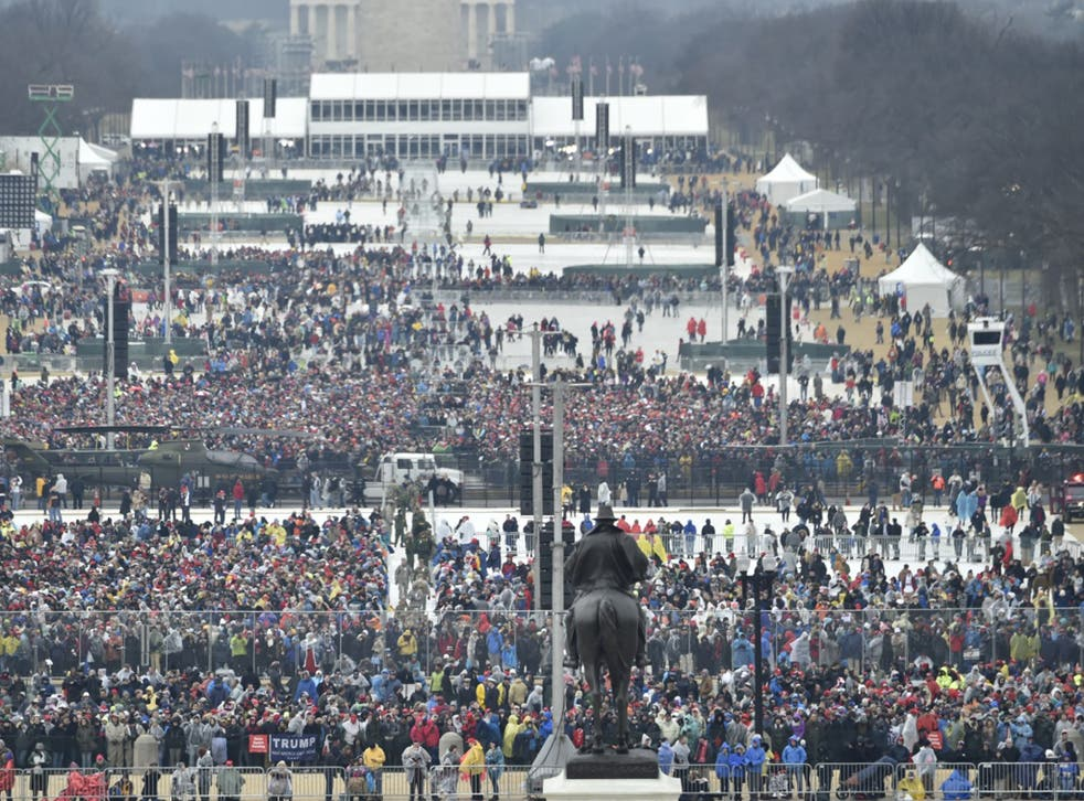 A view of the crowd at the US Capitol ahead of the inauguration of President Trump on January 20 2017