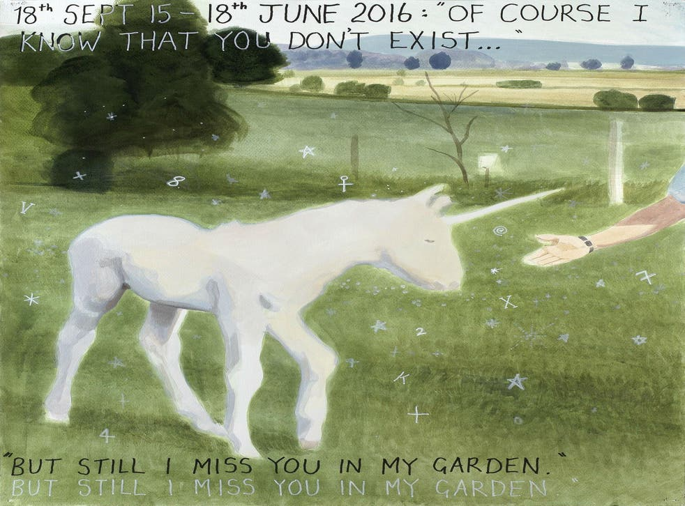 """Keith Tyson's studio drawing '18th Sept 15-18th June 2016: """"Of course I know that you don't exist'"""