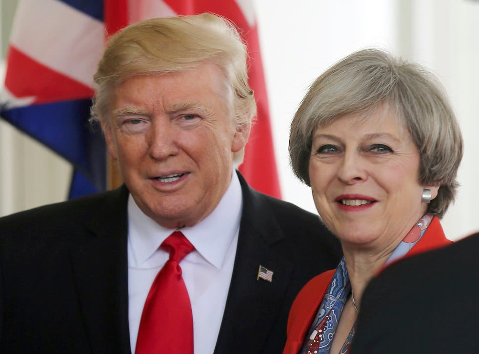 US President Donald Trump greets British Prime MinisterTheresa May as she arrives at the White House in Washington DC