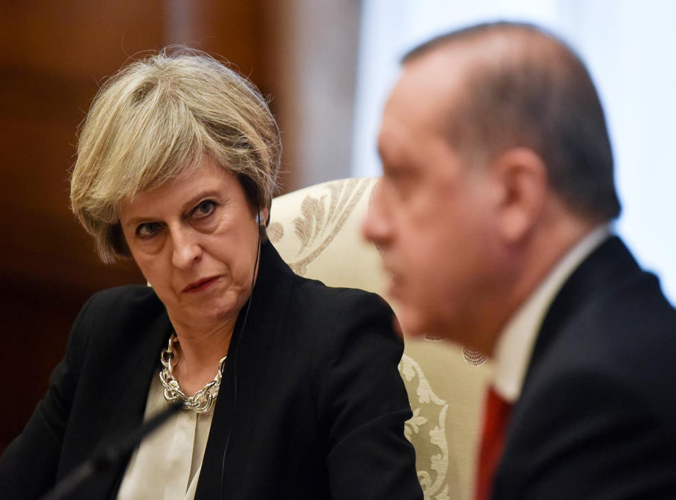 Theresa May attended a meeting with President Erdogan earlier today