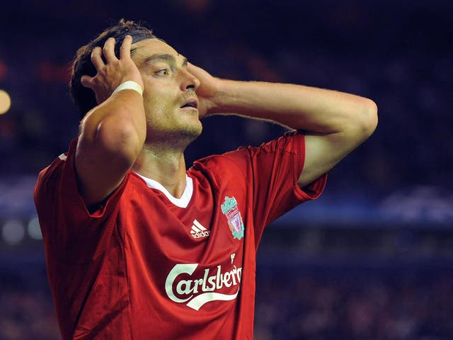 Albert Riera in action for Liverpool