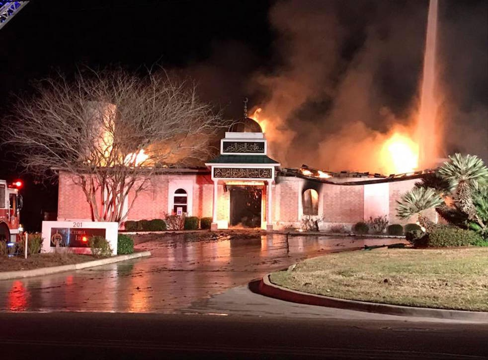 The blaze destroyed the mosque in Victoria, Texas