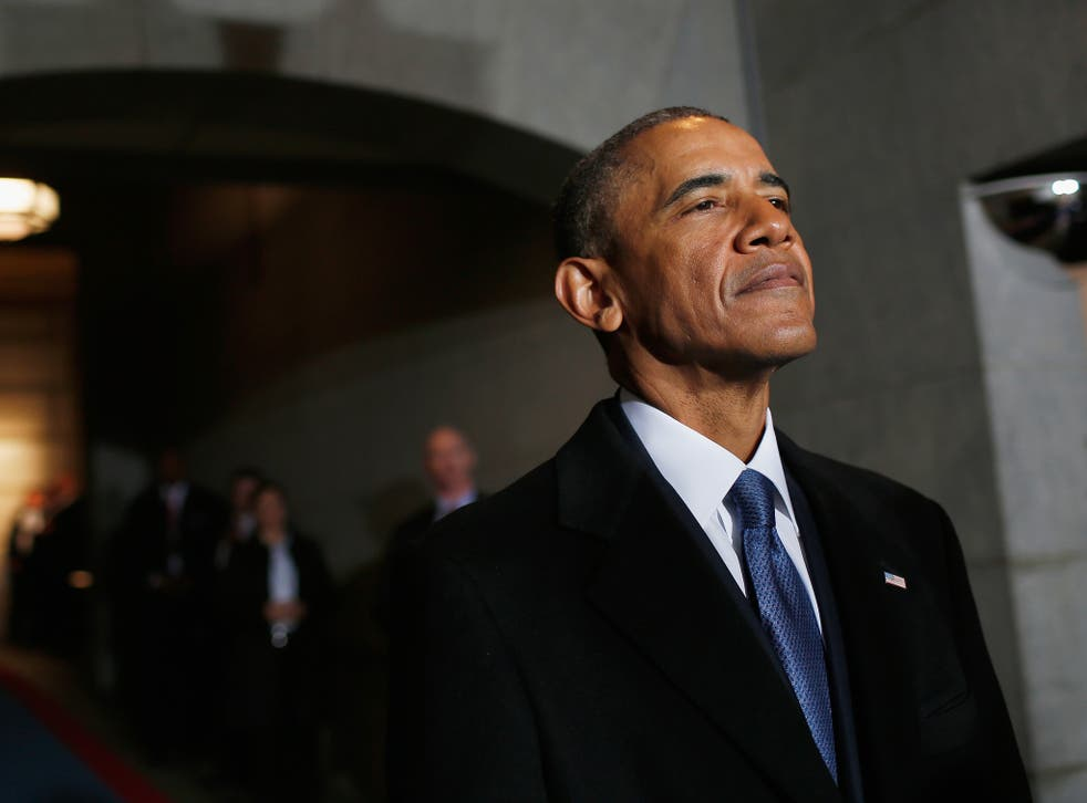 Barack Obama arriving at the US Capitol in the final minutes of his presidency on Inauguration Day