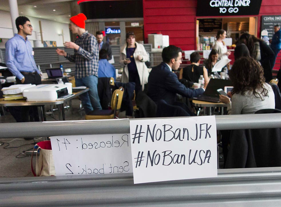 A group of about 30 attorneys have been working inside the arrivals terminal at JFK International Airport since Trump's immigration orders started affecting travellers